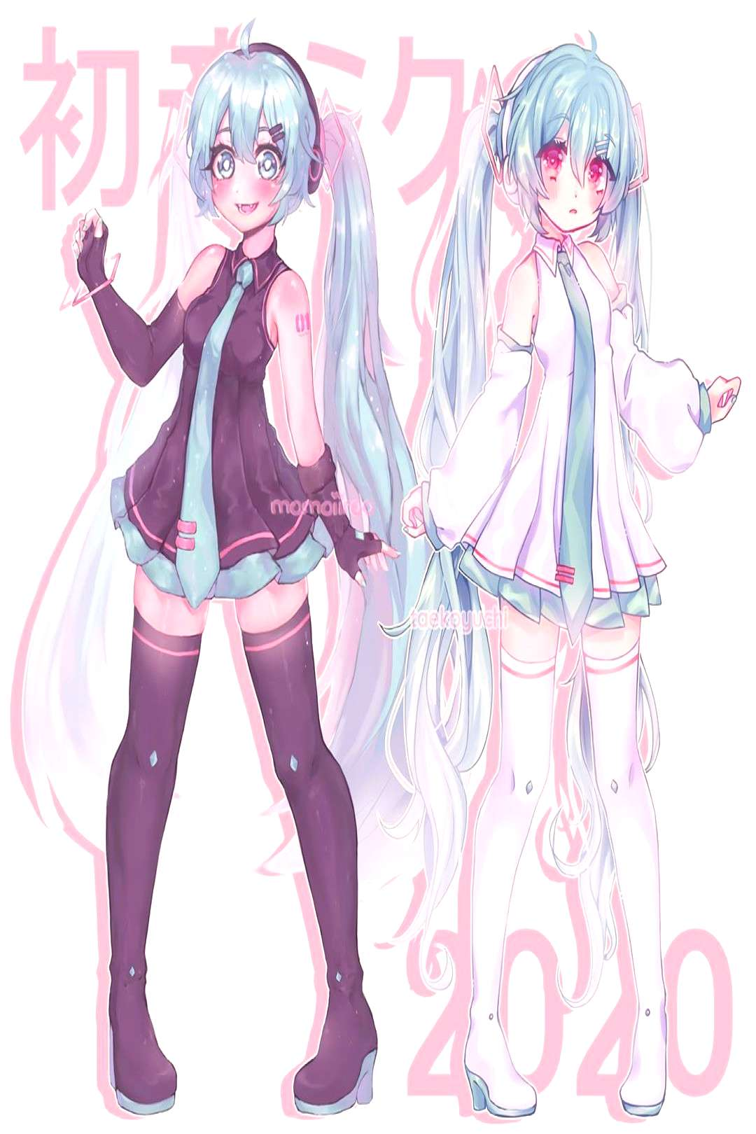 【 ミクミク ! 】 heh i collabed to redraw the sour mikus wi