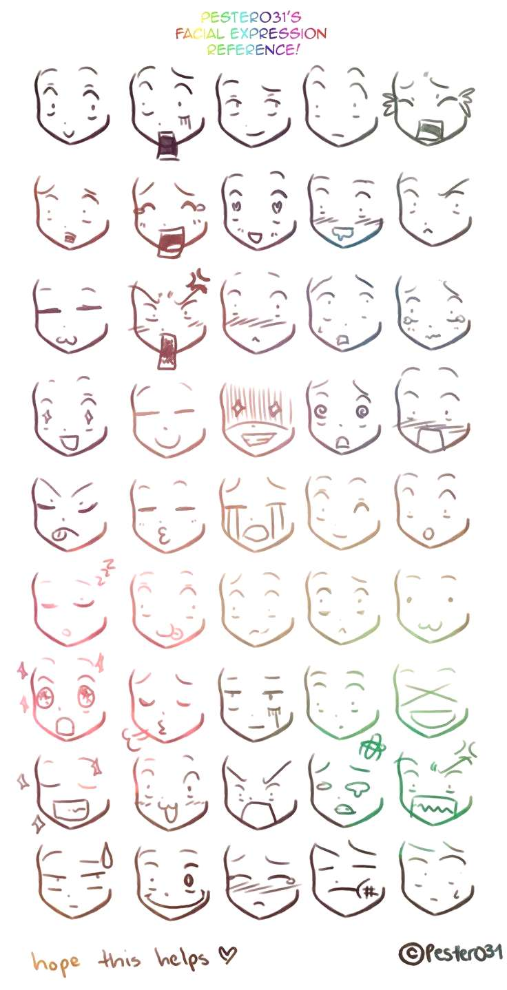 Anime/Manga expresiones...  A reference on drawing chibi faces :3