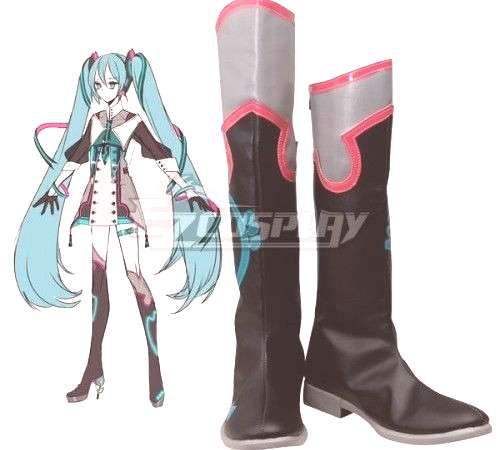Vocaloid Hatsune Miku New Cosplay Flat Black Shoes Cosplay Boots