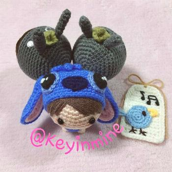 Costumes Party Let's dance Dolls in Stitch & Totoro Costume by keyinmine | Amigurumi Doll chibi