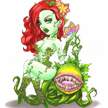 Cute and Deadly - Chibi Pinup style Poison Ivy with her carnivoro