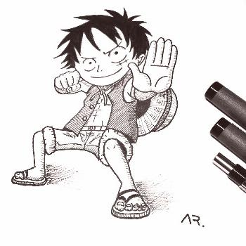 Fearless little Luffy ready to fight! . I like his cool martial a