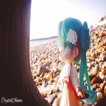 Hatsume miku taking some time out for some quiet reflection. . .