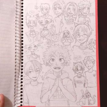 I made these drawings on the back cover of my history notebook, s
