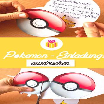 Make Pokemon-Pokemon yourself -  Make invitations for Pokemon kids birthday yourself. Free template
