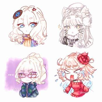 some emotes of my OC's from left to right: Amme, Fiya, Fergi and Rosa!