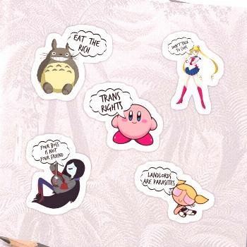 some of the sticker packs i've done! not all of them are leftist