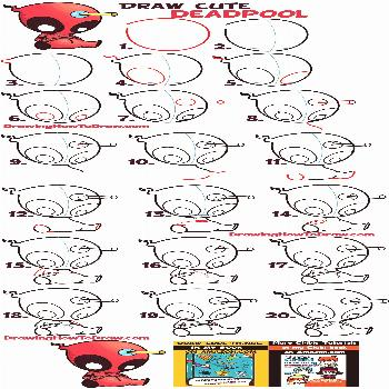to Draw Cute Cartoon / Chibi Deadpool Easy Step by Step Drawing Tutorial for Beginners - How to Dra