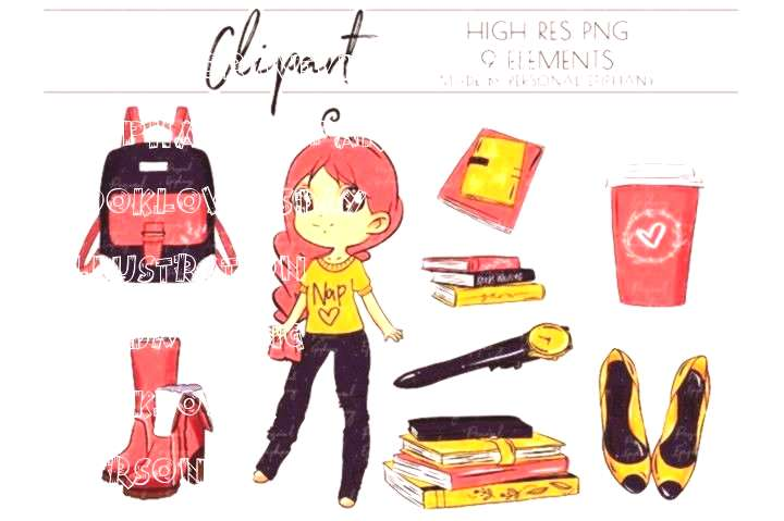 girl Cute Planner Girl Clipart, Nap Queen Clip Art, Books illustration By Personal Epiphany#clipart