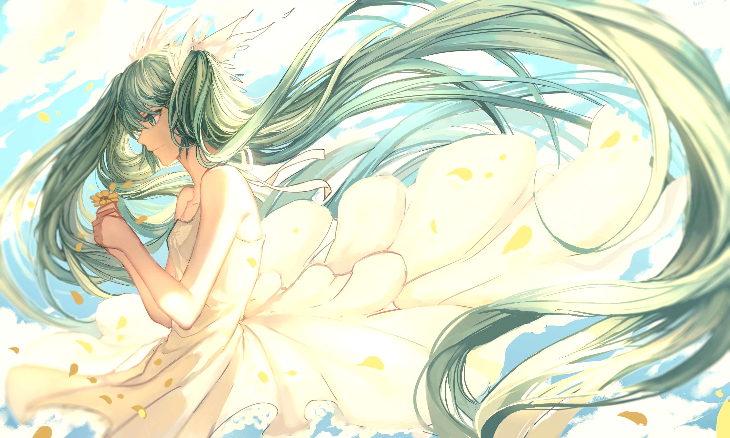 Hatsune Miku long hair white dress flower petals anime girls