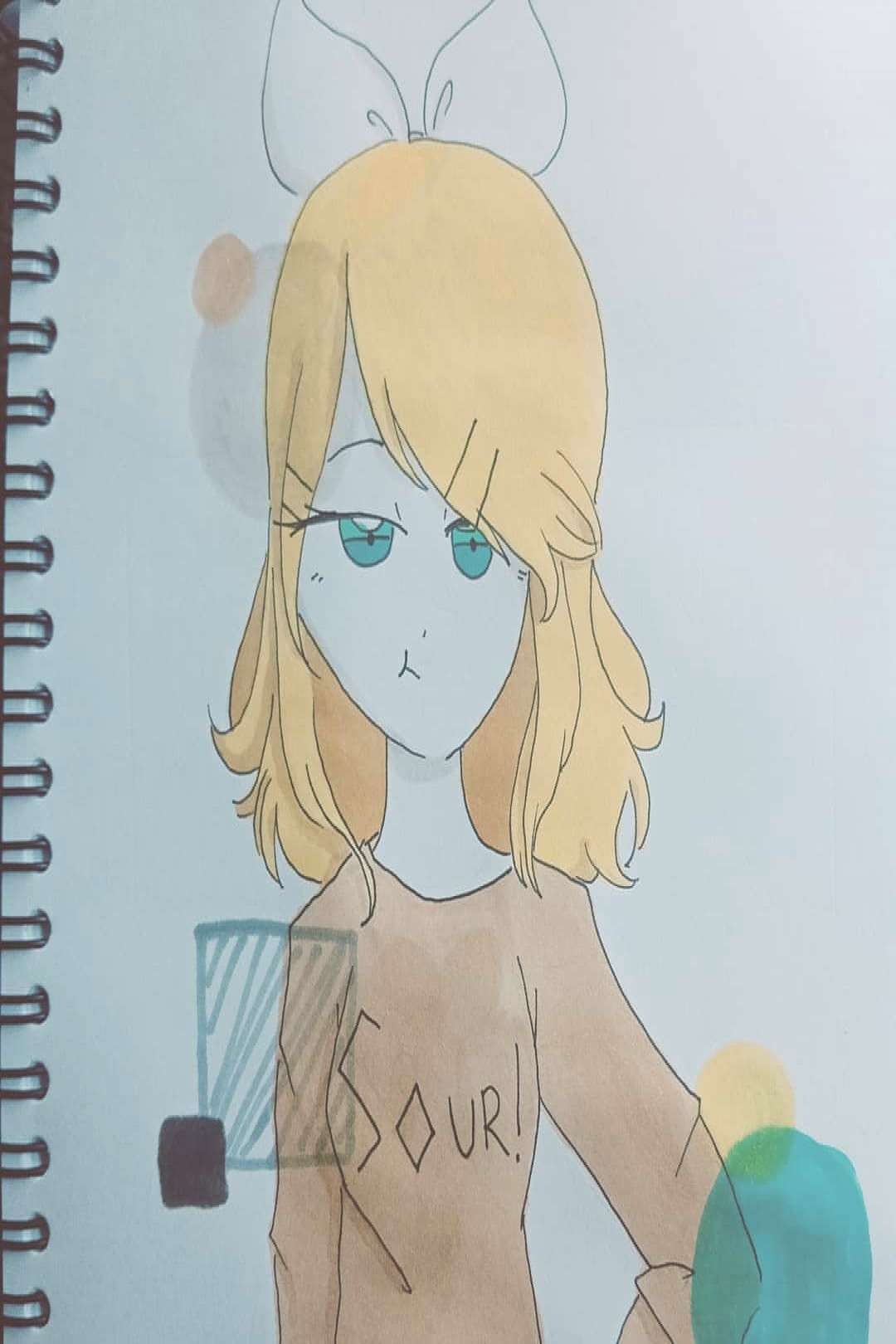 Here's a random drawing I made. It's Kagamine Rin! I love her son