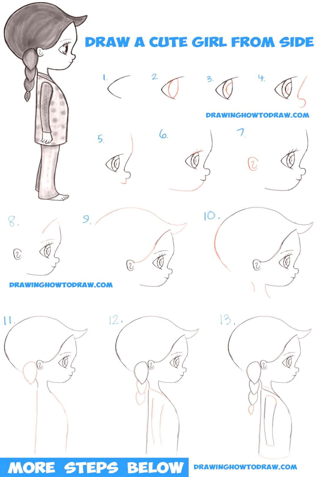 How to Draw a Cute Chibi / Manga / Anime Girl from the Side View Easy Step by Step Drawing Tu...