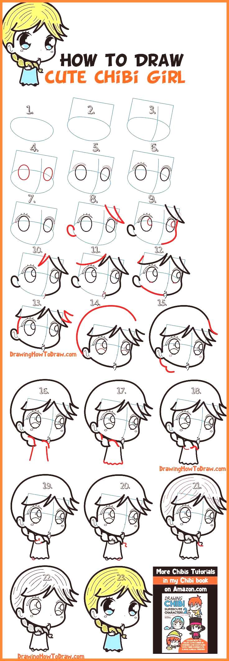 How to Draw a Supercute Chibi Girl with Easy Step by Step Drawing Lesson for Kids 038 Beginners How