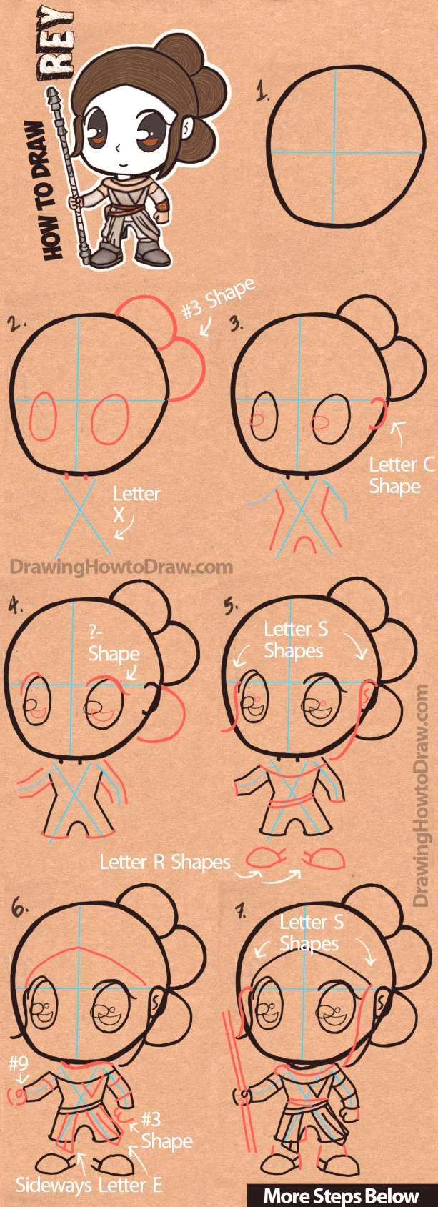 How to Draw Cartoon Chibi Rey from Star Wars The Force Awakens with Easy Step by... How to Draw Ca