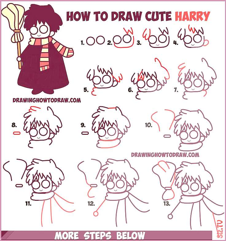 How to Draw Cute Harry Potter Chibi  Kawaii Easy Step by Step Drawing Tutorial for Kids  chibi Cute