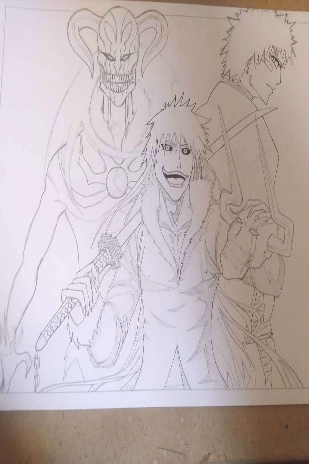 Ichigo Kurosaki with hid Hollow form... Drawing after long time..