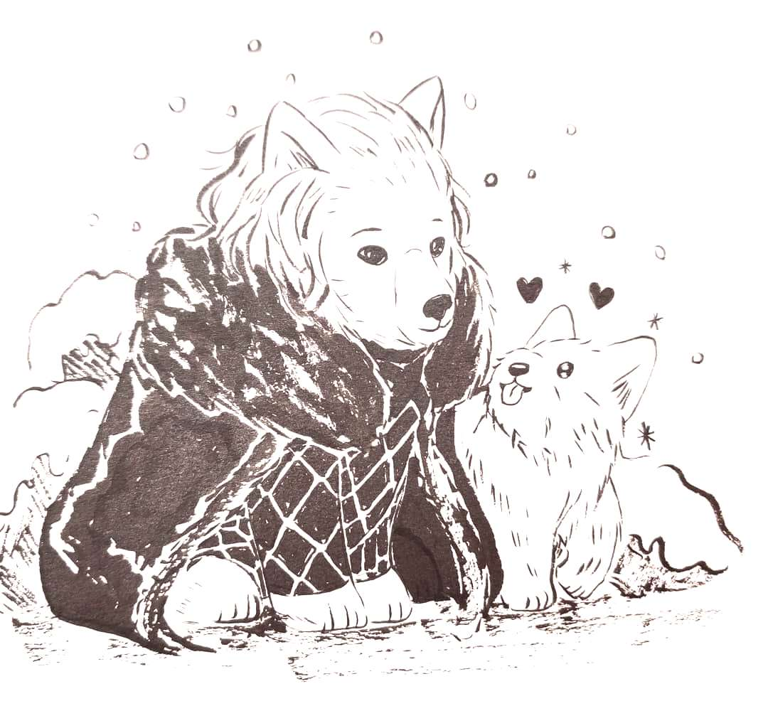 Inktober 5: Jon Snow and good boy Ghost! Who's a good boy? Ghostie! Such a good boy!