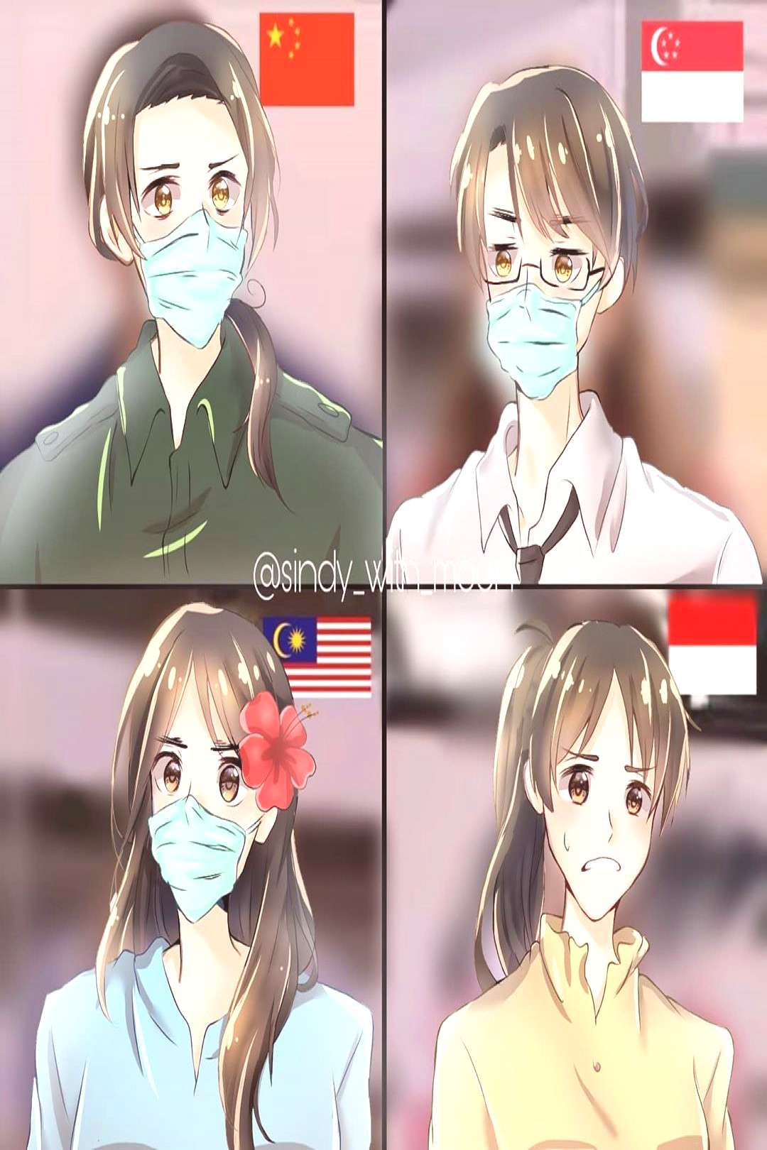 Nobody :...... . . Indonesia: why do you guys wear a mask? . . I