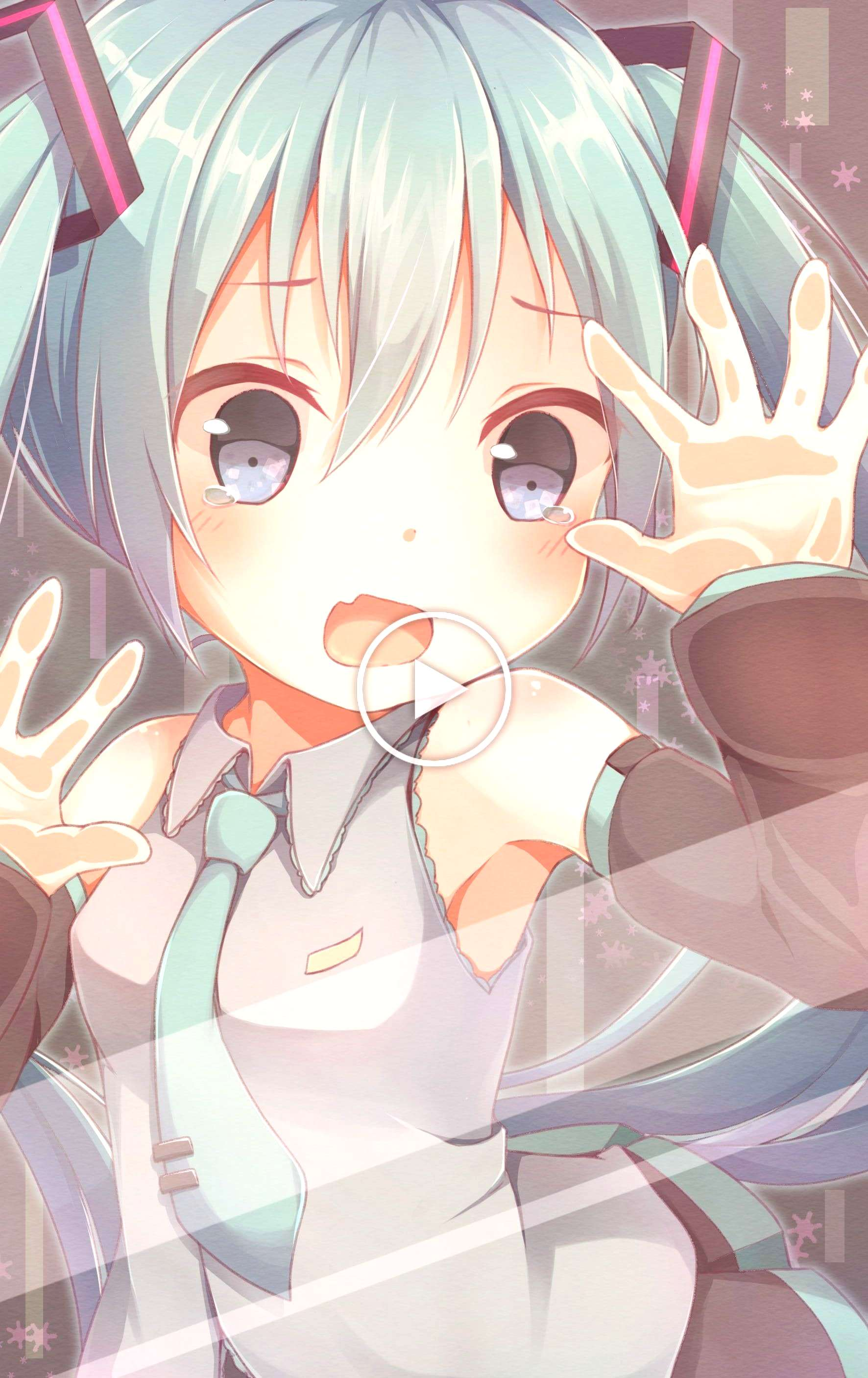 open mouth behind the glass blue eyes blue hair Hatsune Miku