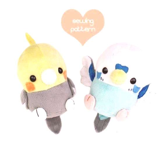 sewing pattern Kawaii Bird stuffed animal - Cockatiel Parakeet chibi plushie 6in Pokemon Robin Spar