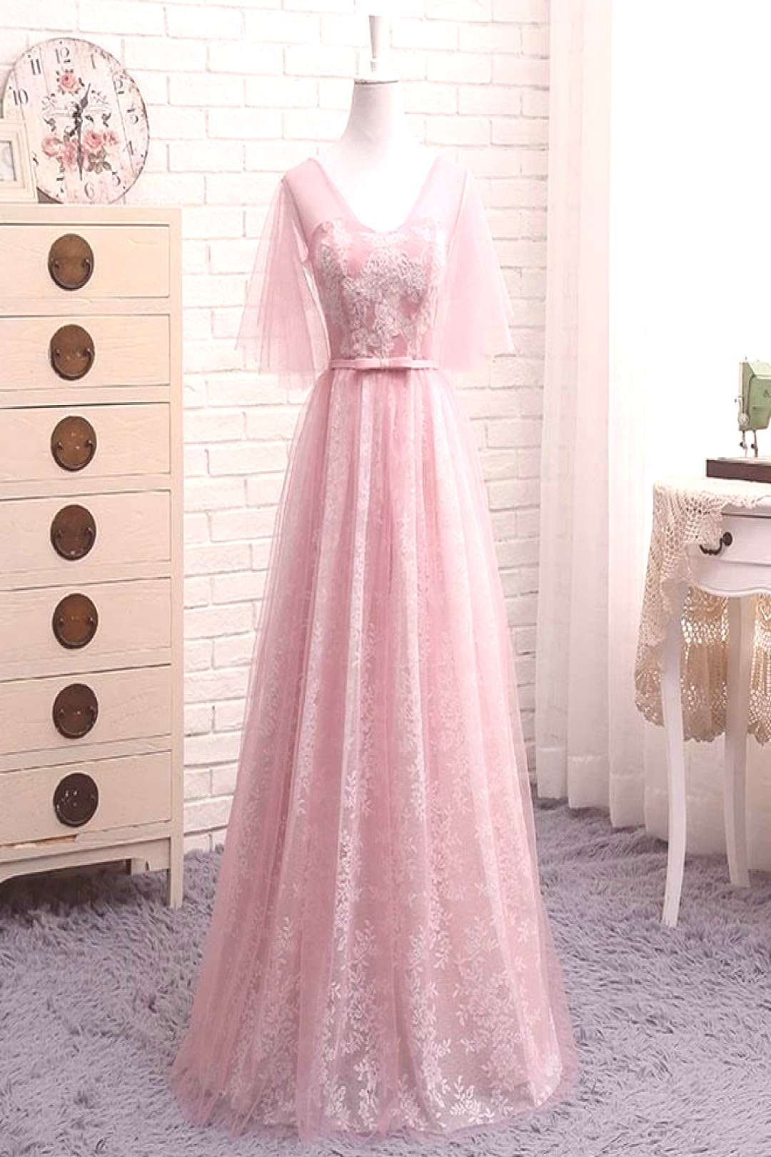 Tag someone who loves this dress. A Line V Neck Lace Tulle Long P