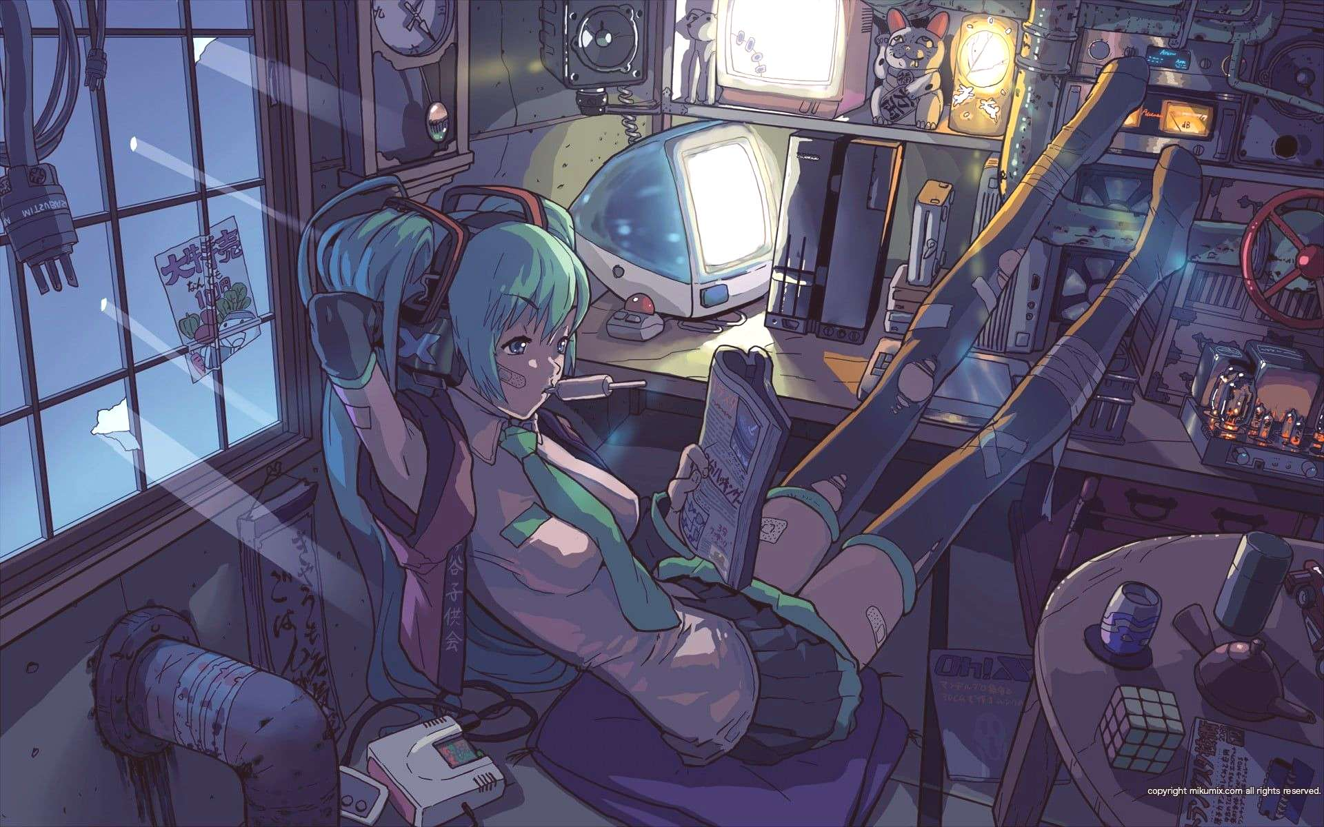 teal haired female animated character wallpaper anime girls Hatsune Miku ...-teal haired female ani