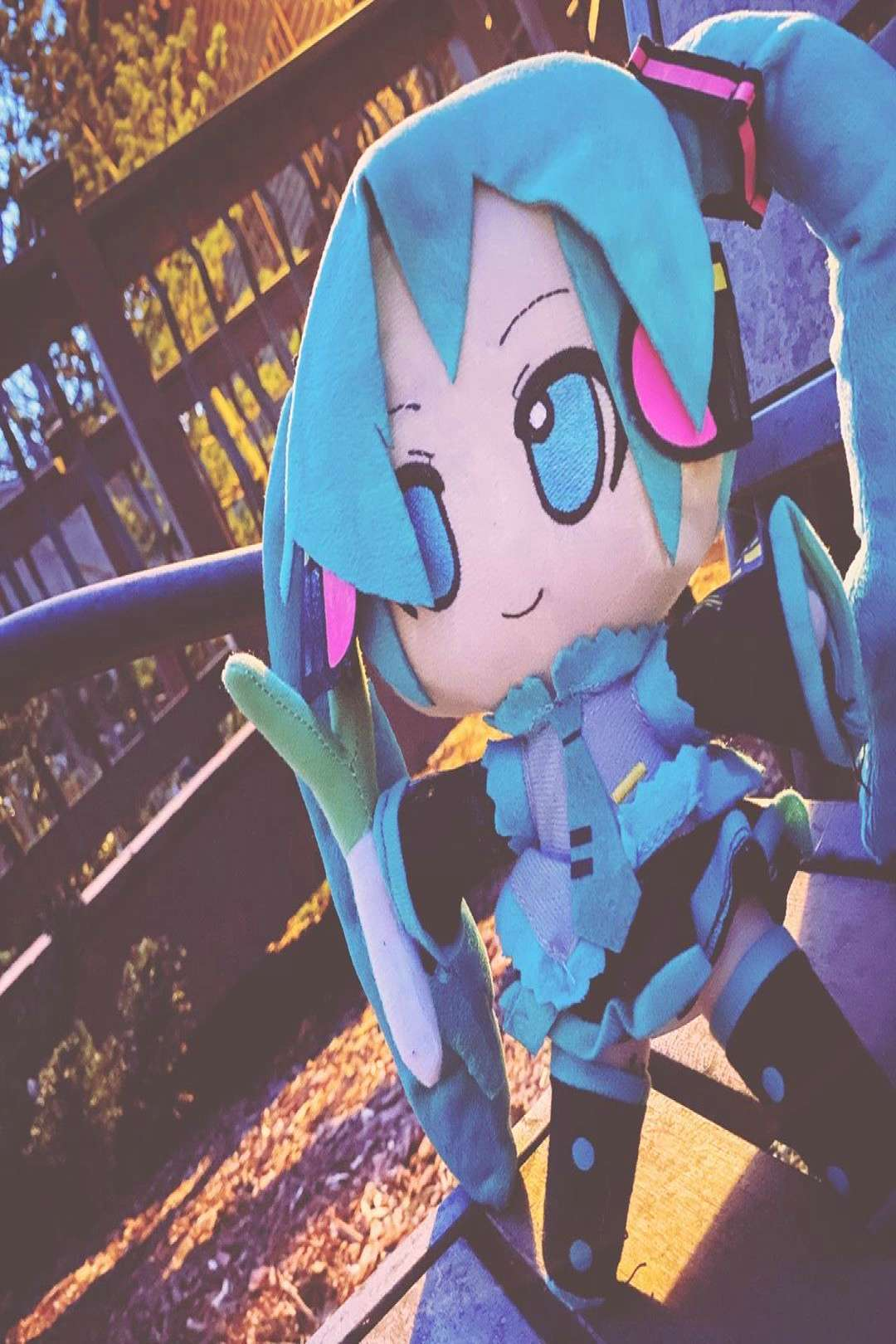 took my miku plush out for a few pics!! this is filler until I ge