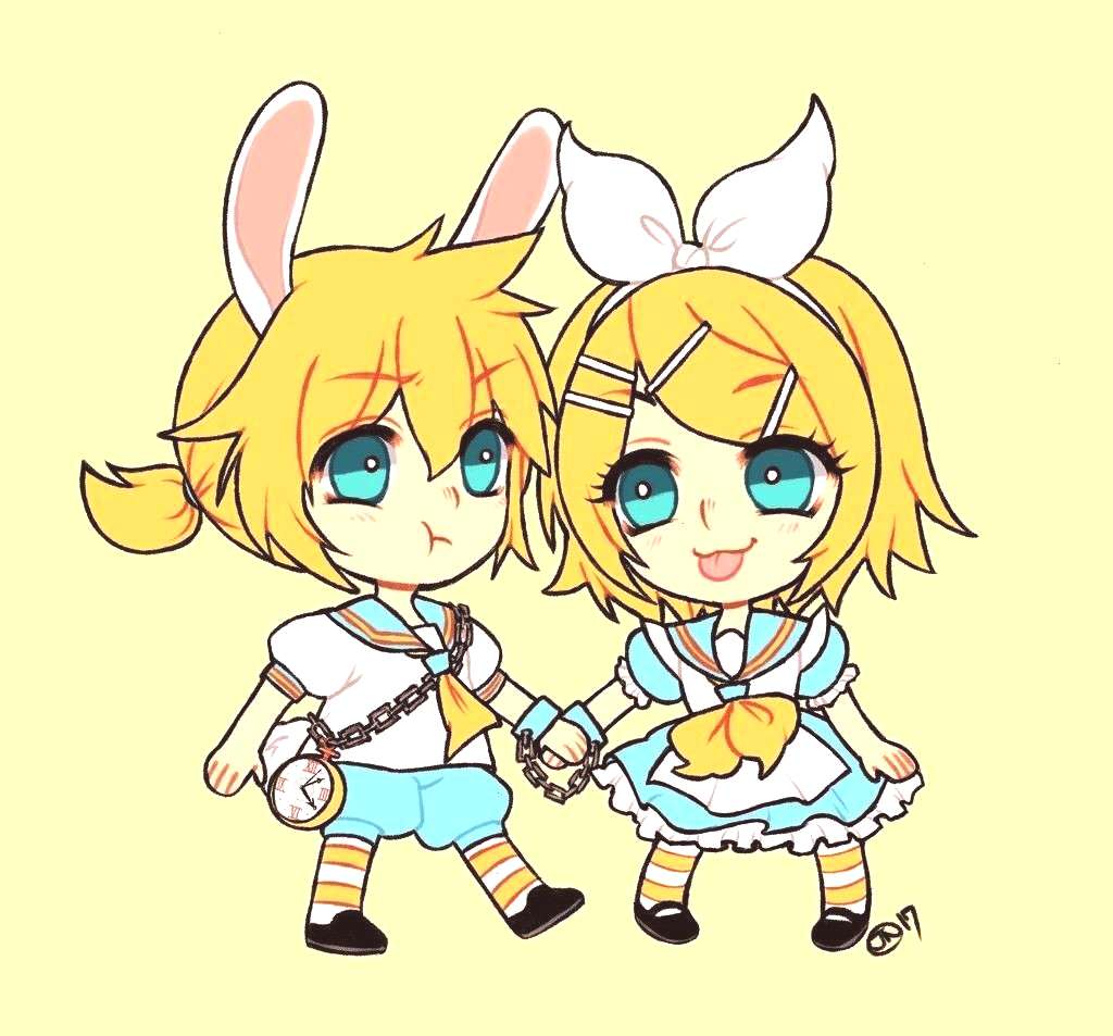 wonderland x Vocaloid Len and Rin. Where the rabbit cant run away from Alice. I drew thi... -Alice